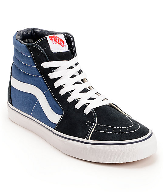 1e4fc4d74b2 Vans Sk8-Hi Navy, Black & White Skate Shoes | Zumiez