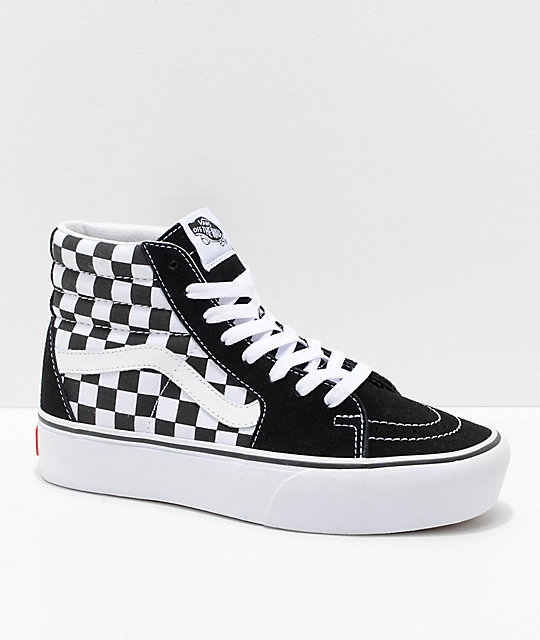 5ee5f04b5ac0 Vans Sk8-Hi Platform 2.0 White   Checkerboard Shoes