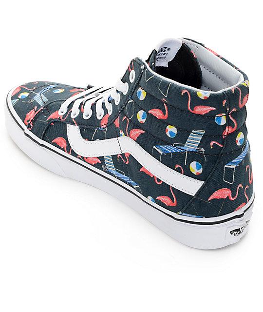 7e4dbd2759 ... Vans Sk8-Hi Pool Vibes Black and White Skate Shoes ...