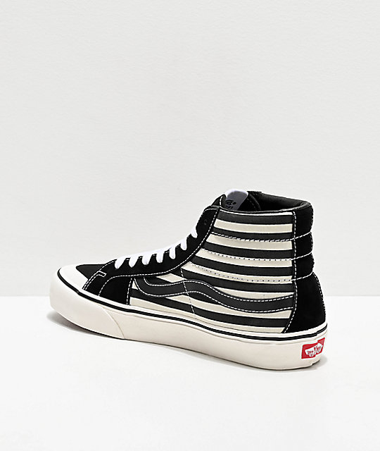 Vans Sk8-Hi Pro 138 SF Stripe Black & Marshmallow Skate Shoes