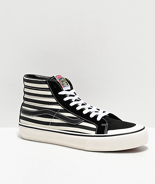 compare price purchase original fine craftsmanship Vans Sk8-Hi Pro 138 SF Stripe Black & Marshmallow Skate Shoes