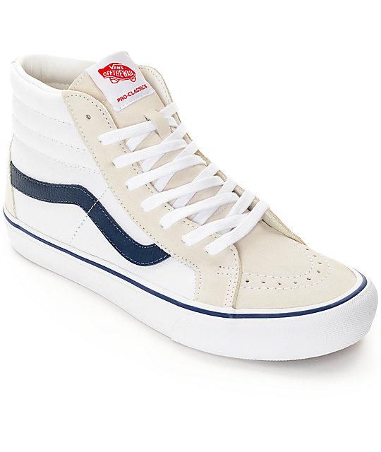 4febdca10c02 Vans Sk8-Hi Pro 50th  81 White   Navy Skate Shoes