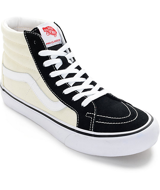 vans skate hi white black