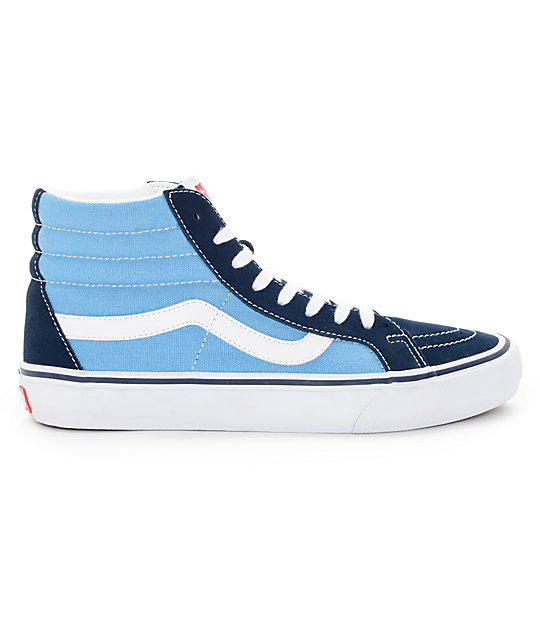 7f56f443e0 ... Vans Sk8-Hi Pro 50th Navy and White Skate Shoes