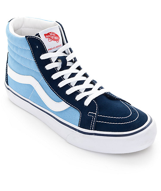 19d8762f6a3f Vans Sk8-Hi Pro 50th Navy and White Skate Shoes