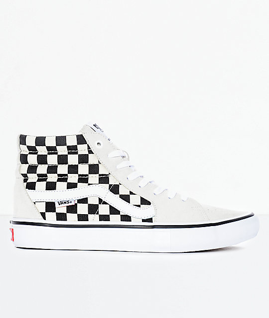 5bb10a79a906 ... Vans Sk8-Hi Pro Black   White Checkered Skate Shoes