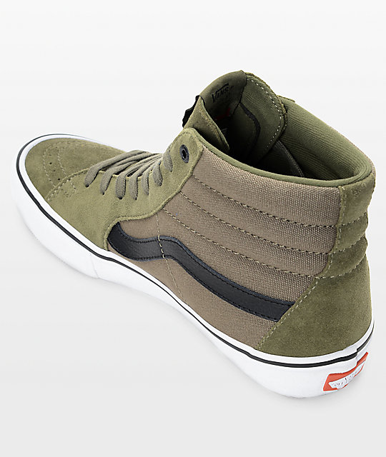 Vans Sk8-Hi Pro Burnt Olive & Black Skate Shoes
