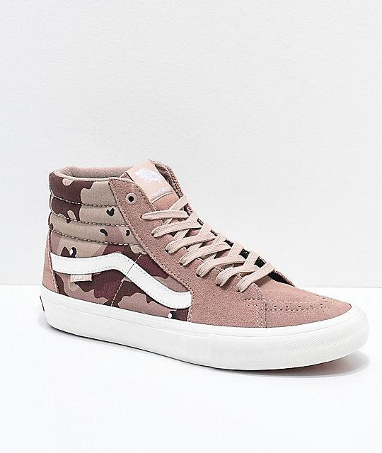 c32a5fff87f521 Vans Sk8-Hi Pro Desert Camo Skate Shoes