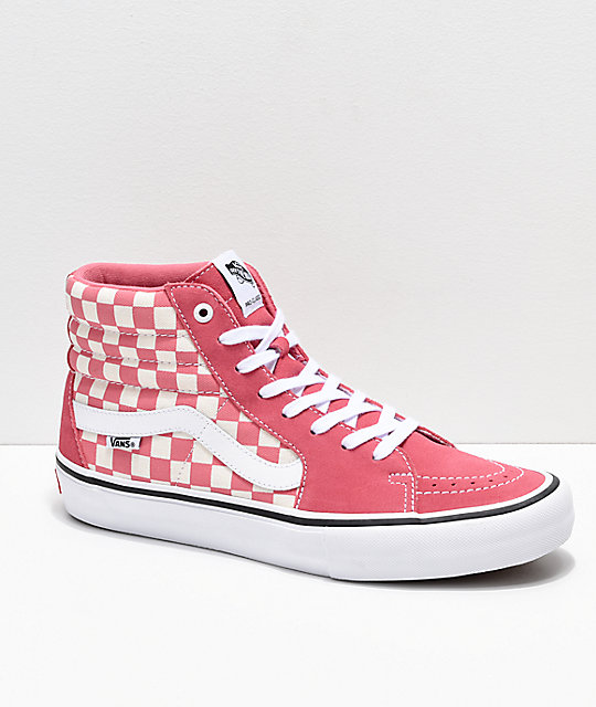 cfabab71670f Vans Sk8-Hi Pro Desert Rose Checkerboard Skate Shoes