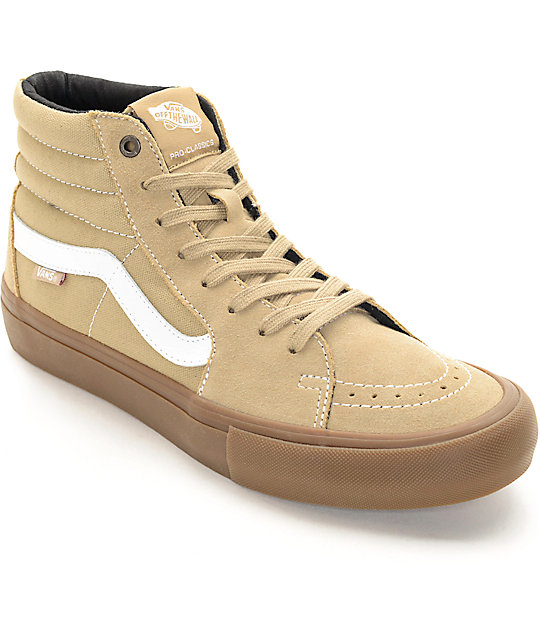 vans sk8 hi pro khaki gum skate shoes zumiez