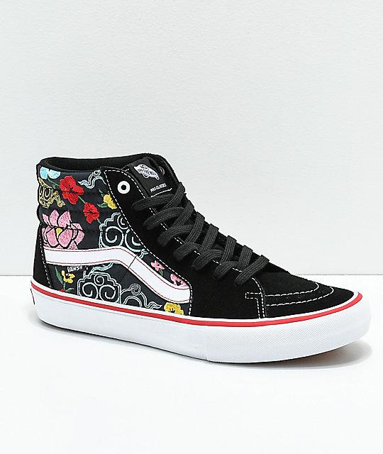 d36aa38e Vans Sk8-Hi Pro Lizzie Floral Black & White Skate Shoes
