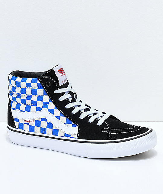 Vans Sk8-Hi Pro Victoria Blue, Black & White Checkered Skate Shoes