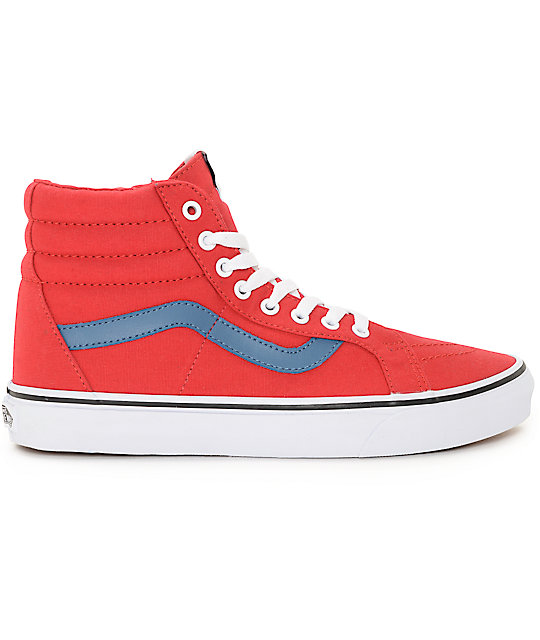cfd1535d49c ... Vans Sk8-Hi Red and Blue Canvas Skate Shoes