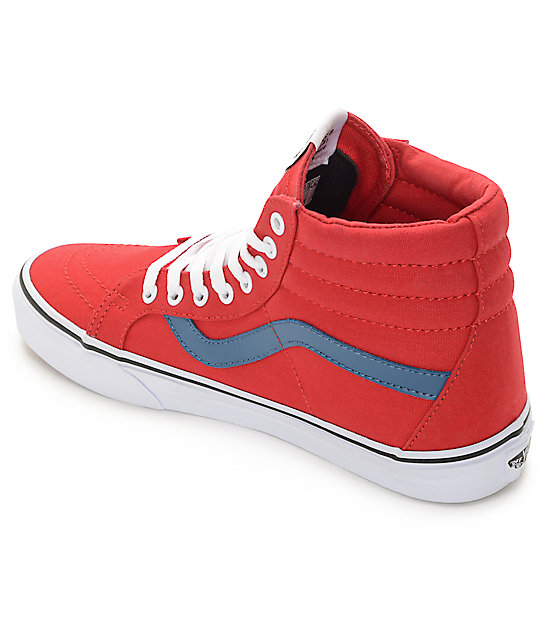 430fb0e1053 ... Vans Sk8-Hi Red and Blue Canvas Skate Shoes ...