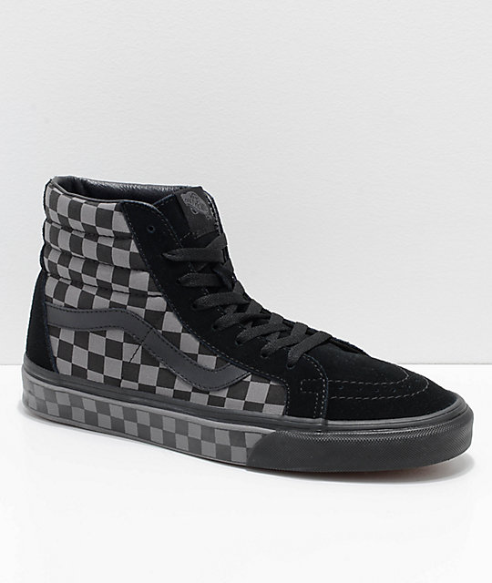 Vans Sk8-Hi Reissue Black   Pewter Checkered Skate Shoes  c347c51cc
