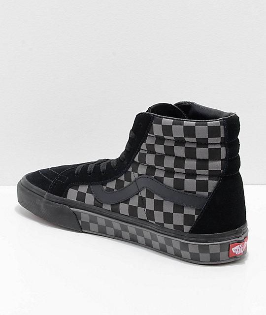 vans sk8 hi checkerboard black