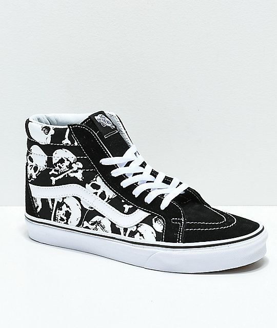 Vans Sk8-Hi Skulls Black   White Skate Shoes  5812db741352