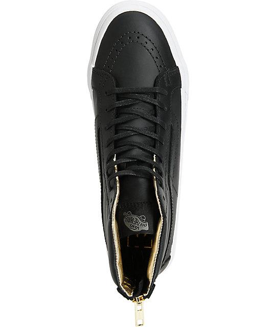 ca1b46659e2 ... Vans Sk8-Hi Slim Black   Gold Leather Shoes (Womens) ...