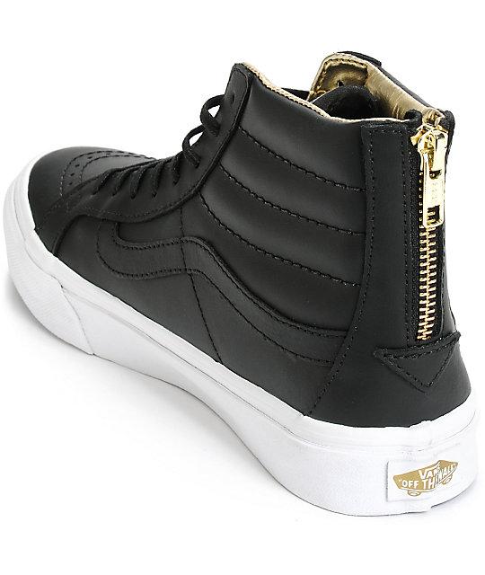 ... Vans Sk8-Hi Slim Black   Gold Leather Shoes ... 7ccae3d96