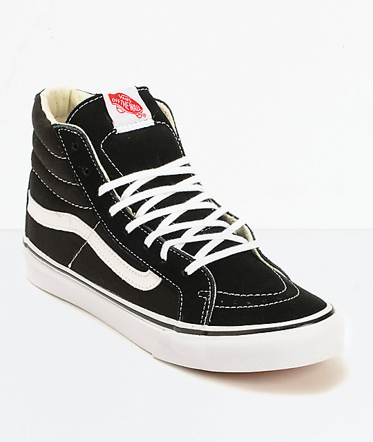 Vans Sk8-Hi Slim Black & True White Shoes ...