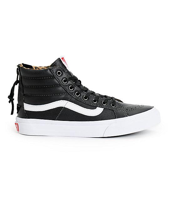 72404716d95088 ... Vans Sk8-Hi Slim Black Leather   Leopard Zip Shoes