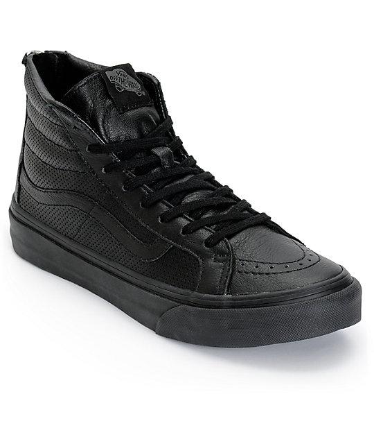 vans - u sk8-hi slim zip perf leather sneakers unisex