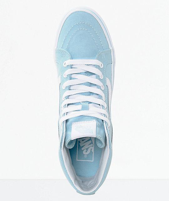 ee28ad2785e7e1 ... Vans Sk8-Hi Slim Crystal Blue   White Canvas Shoes ...