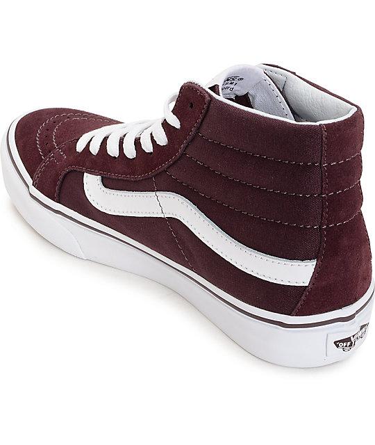 ee9a10ba11 ... Vans Sk8 Hi Slim Iron Brown   White Shoes ...