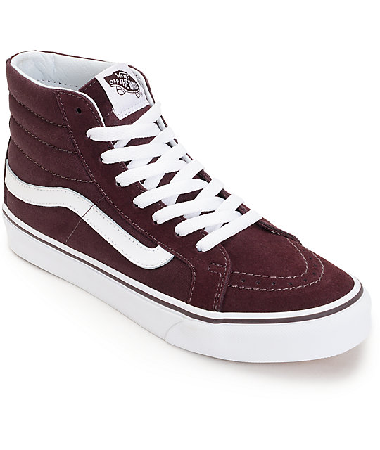 9253ebcab65b27 Vans Sk8 Hi Slim Iron Brown   White Shoes
