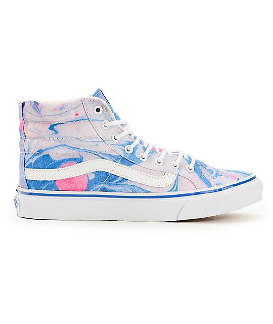 02a2b1da1a ... Vans Sk8-Hi Slim Marble   True White Womens Shoes