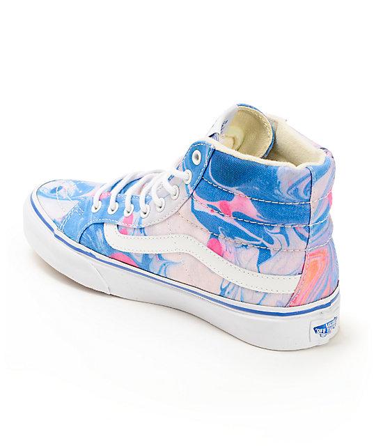 e2c41fcaae ... Vans Sk8-Hi Slim Marble   True White Womens Shoes ...