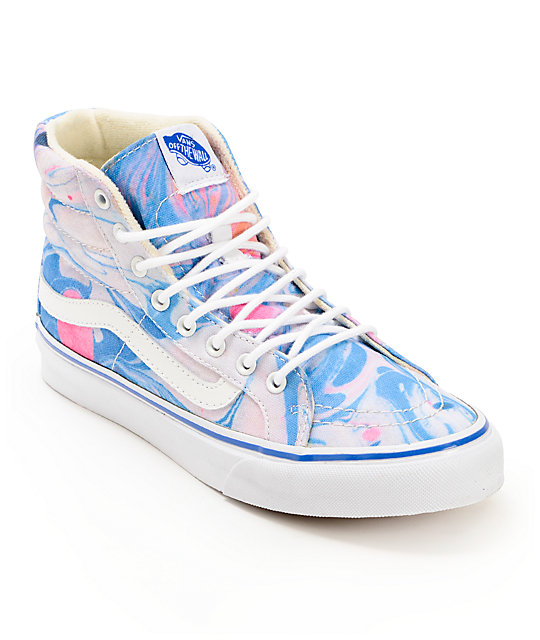 4363d1433bcee8 Vans Sk8-Hi Slim Marble   True White Womens Shoes