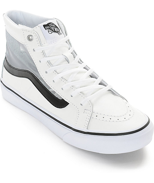 7a98cd6f53b2 Vans Sk8-Hi Slim Mesh Cutout White Shoes