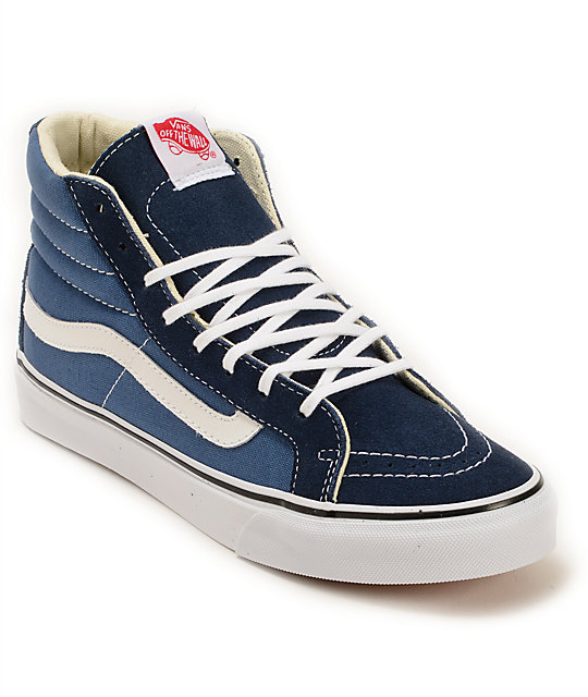 f778d029395 Vans Sk8-Hi Slim Navy Shoes | Zumiez