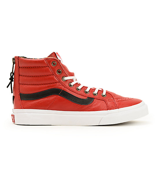 735f43eb09 ... Vans Sk8-Hi Slim Red Leather Zip Shoes
