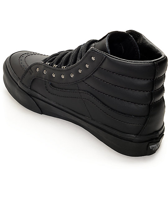 c5e6dfdae9ca ... Vans Sk8 Hi Slim Rivets Black Leather Shoes ...