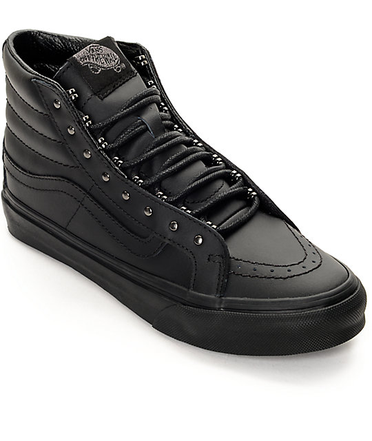 67abac81eeb90e Vans Sk8 Hi Slim Rivets Black Leather Shoes