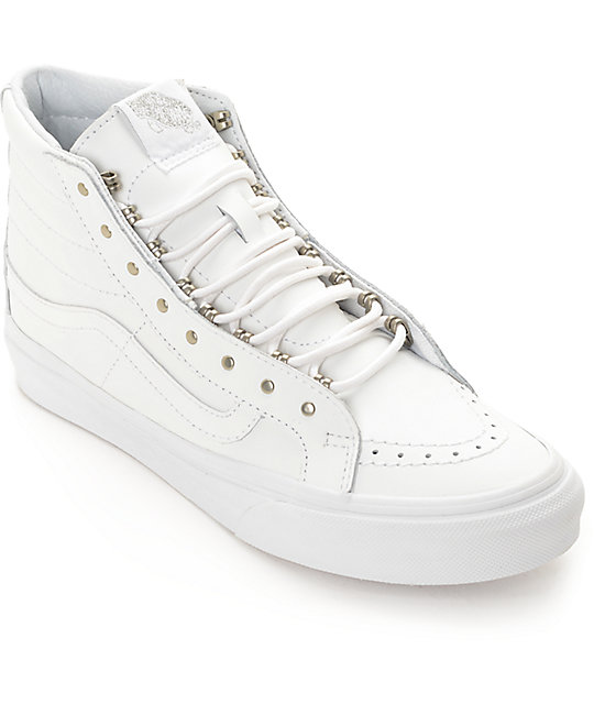 0570d391791ae9 Vans Sk8 Hi Slim Rivets White Leather Shoes