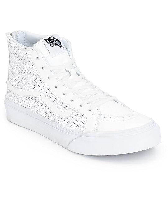 Vans Sk8-Hi Slim White Perforated Shoes