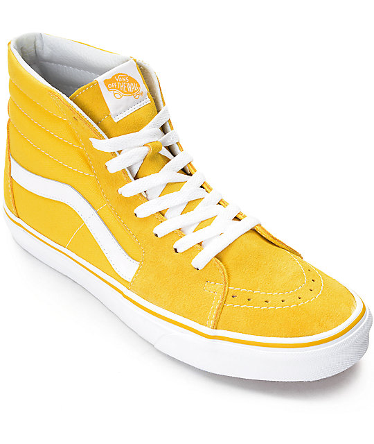 318cd47b Vans Sk8-Hi Spectra Yellow & White Skate Shoes