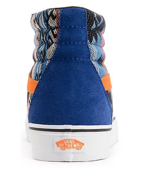 4154b4d847d ... Vans Sk8-Hi Suede Inca Blue   Orange Skate Shoes ...