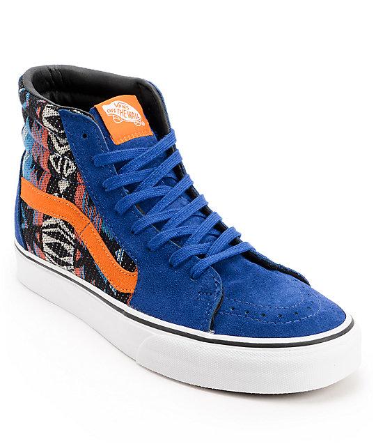 73f54b7da94 Vans Sk8-Hi Suede Inca Blue   Orange Skate Shoes