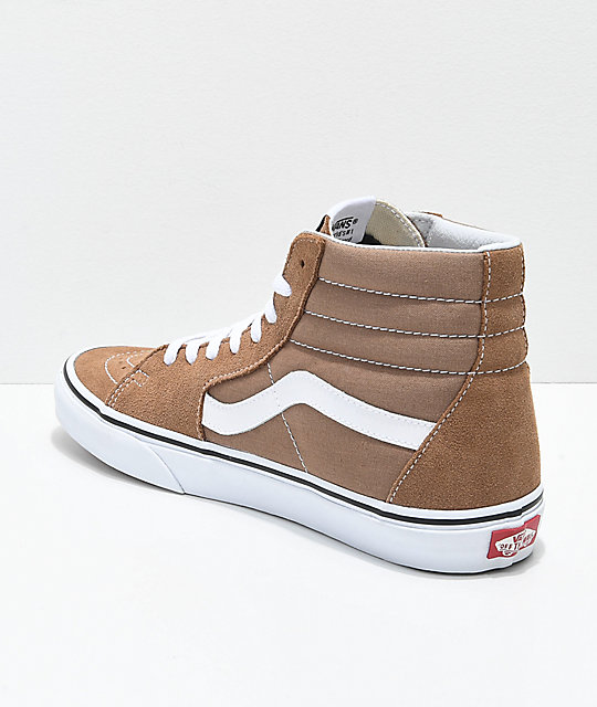 Vans Sk8-Hi Tiger Eye Tan & White Skate Shoes