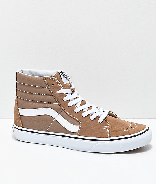 eb1b2258b6ac Vans Sk8-Hi Tiger Eye Tan   White Skate Shoes