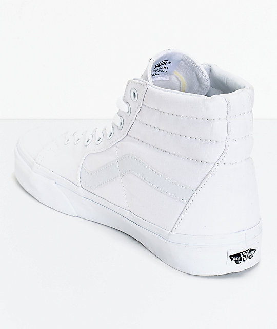 a341bc7c94d7 ... Vans Sk8-Hi True White Canvas Skate Shoes ...