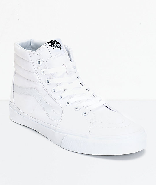eacd624324 Vans Sk8-Hi True White Canvas Skate Shoes