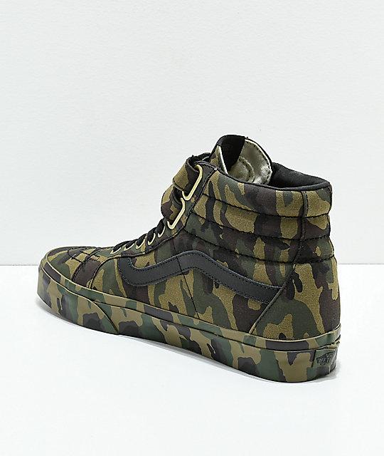 93b6aca1bc2a1d ... Vans Sk8-Hi Tumble Reissue V Green Camo Skate Shoes ...