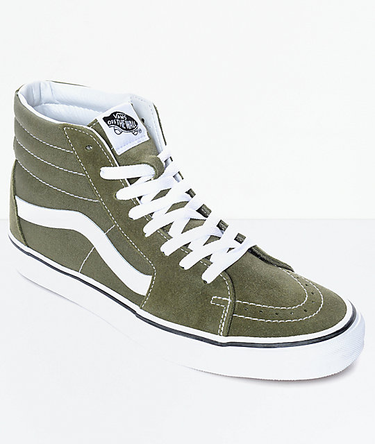 2953df65d3ffaa Vans Sk8-Hi Winter Moss Green   White Skate Shoes