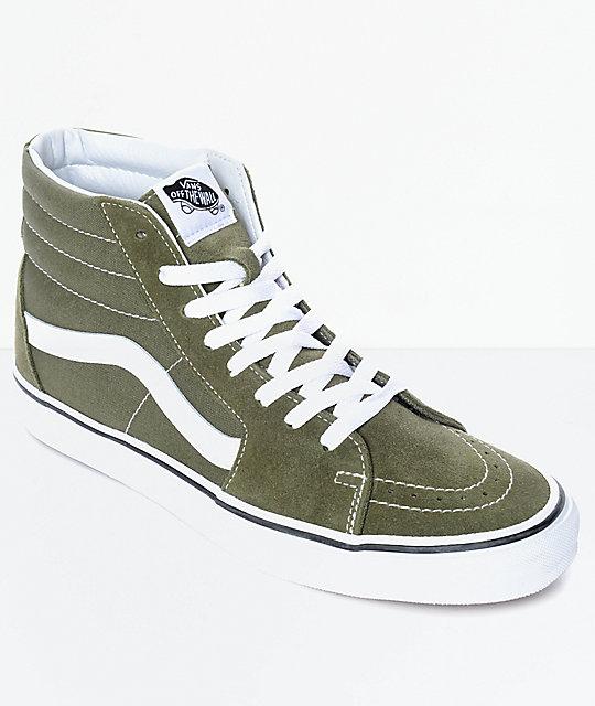 fbea894d Vans Sk8-Hi Winter Moss Green & White Skate Shoes