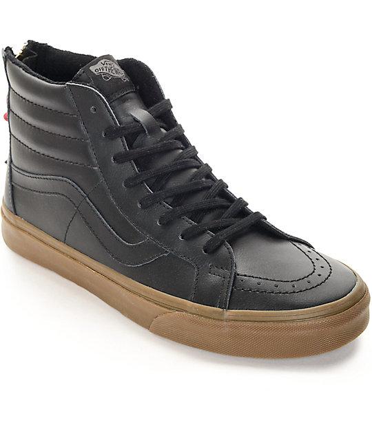 16b667b52013ac Vans Sk8-Hi Zip Black Leather   Gum Skate Shoes